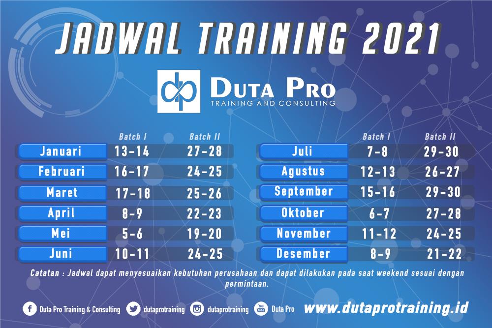 Jadwal training 2021 pelatihan sdm jogja jakarta bandung bali duta pro training